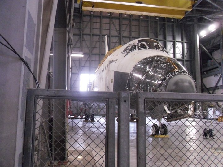 The space shuttle Discovery inside the Vehicle Assembly Building