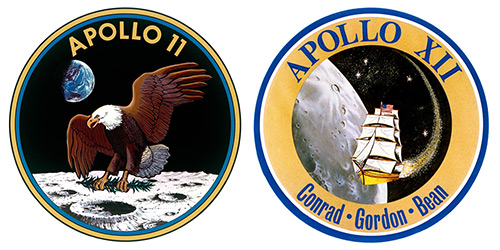 Apollo 11 and 12 patches