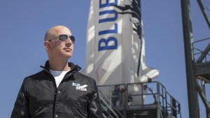 Jeff Bezos, founder of Blue Origin, inspects New Shepard's West Texas launch facility before the rocket's maiden voyage. Credit: Blue Origin