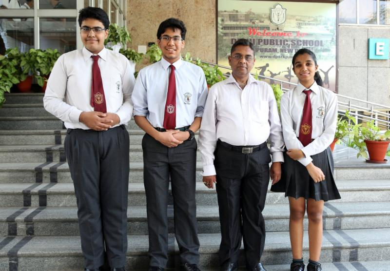 Left to Right: Aditya Sengupta (Student Mentor), Shashwat Goel, Mr. Anil Kumar Verma (Teacher In-charge), Ankita Phulia