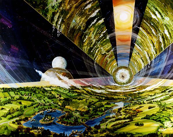 Orbital Space Settlement Interior