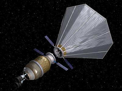 Cryogenic propellant depot with single sunshade. Image credit: United Launch Alliance, B. Kutter, 2008.