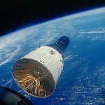 Gemini 6 in space, as seen from Gemini 7 during their rendezvous.