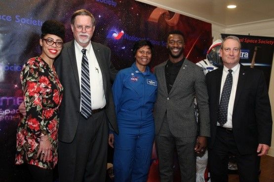 Dr. Knatokie Ford, White House Sr. Policy Advisor, Mark Hopkins, Chair of NSS Executive Committee, Astronaut Yvonnne Cagle, Aldis Hodge, Actor, Hidden Figures, and Bruce Pittman, NSS Senior Vice President celebrating Hidden Figures success.