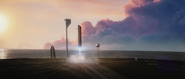 SpaceX ITS reusable first stage return