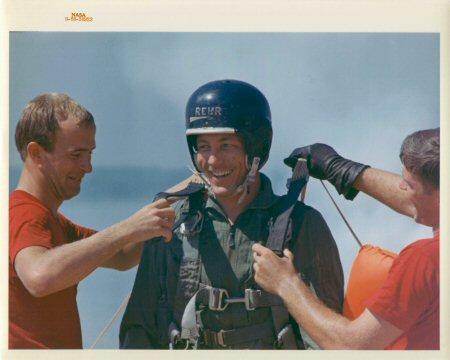 Astronaut Jack Swigert parachuting
