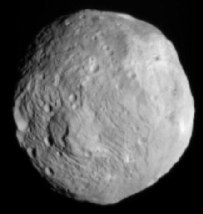 Vesta as imaged on July 9 by the Dawn spacecraft, courtesy NASA