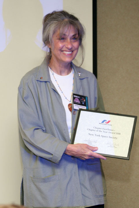 Candace Pankanin of the New York Space Society With NSS Chapter of the Year Award at 2006 International Space Development Conference