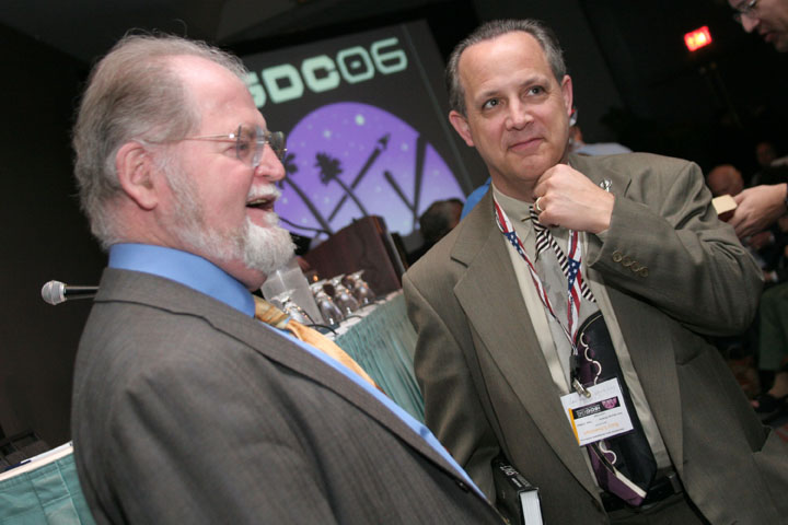 Science Fiction Author Larry Niven (left) with attendee at 2006 International Space Development Conference
