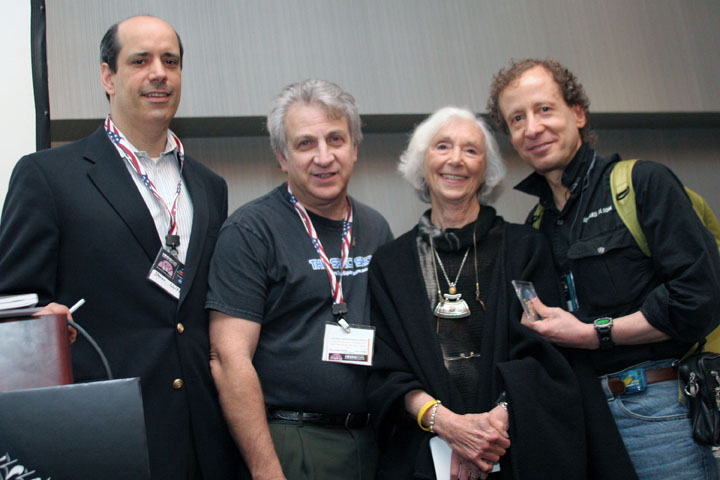 Steven Wolfe, David Livingston, Barbara Marx Hubbard, and Howard Bloom at 2006 International Space Development Conference