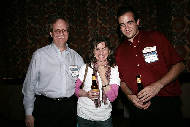 Alan Boyle, Robin Snelson, and Joshua V. Nelson pose at the International Space Development Conference