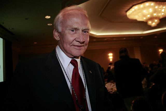 Apollo 11 astronaut  and member of the NSS Board of Governors Buzz Aldrin arrives at a luncheon at the International Space Development Conference