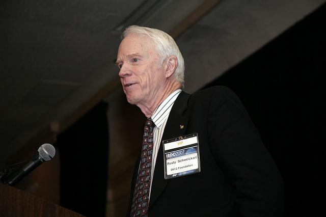 Apollo Astronaut and B612 Foundation Founder, Rusty Schweickart speaking about the comet and asteroid impact hazard at the International Space Development Conference