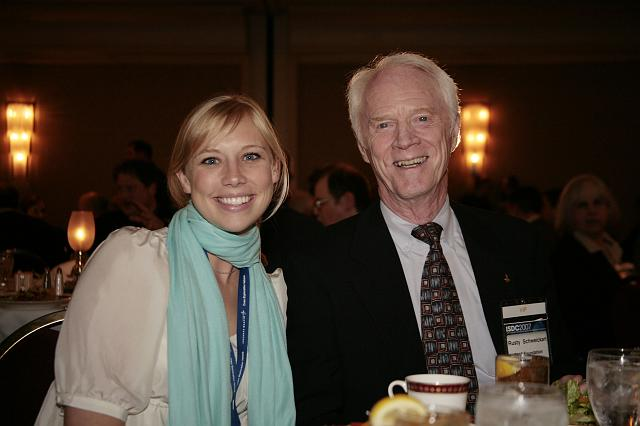 Cassie Kloberdanz of NSS poses with Apollo Astronaut Rusty Schweickart at the International Space Development Conference
