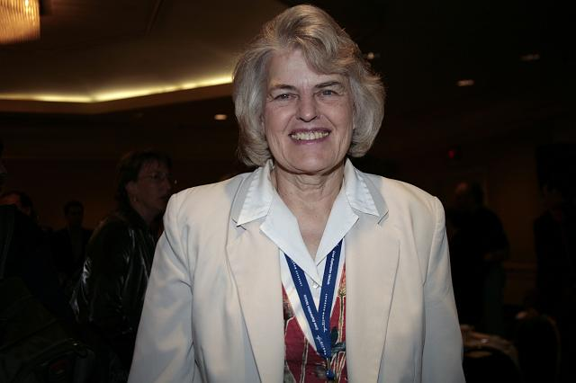 Astronaut Shannon Lucid poses for the camera at the International Space Development Conference