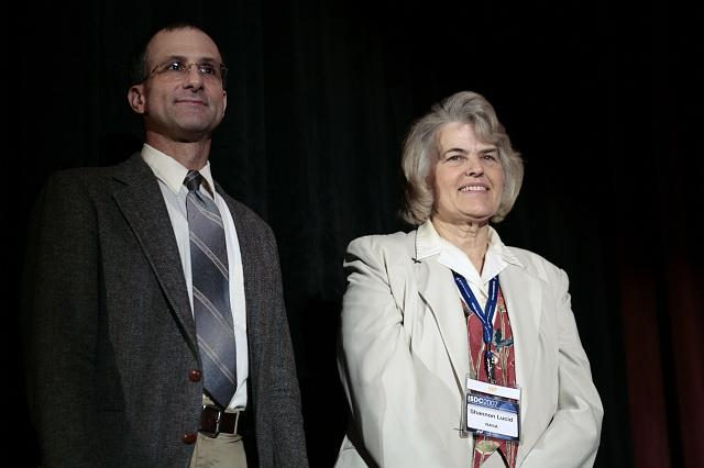 Astronauts Donald Pettit and Shannon Lucid onstage at the International Space Development Conference
