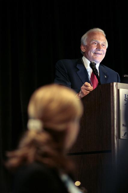 Loretta Hidalgo Whitesides (foreground) listens to Apollo 11 astronaut and NSS Board of Governors member Buzz Aldrin speak at the International Space Development Conference