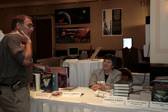 Donna Shirley signs books at the International Space Development Conference