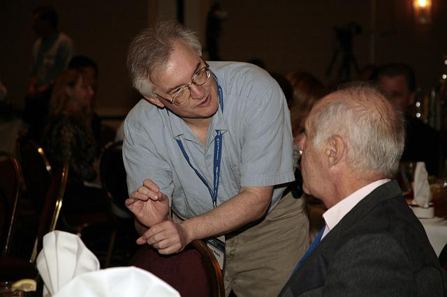 Jim Plaxco talks about global warming on Mars with Ben Bova at the International Space Development Conference