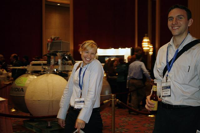 Cassie Kloberdanz and Adam Esposito, members of the National Space Society, enjoy the reception at the Space Venture Finance Symposium, a part of the International Space Development Conference