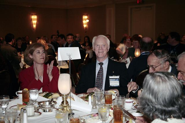 Laurie Leshin, Director of Sciences and Exploration at NASA Goddard,  and Apollo Astronaut Rusty Schweickart enjoy dinner at the International Space Development Conference