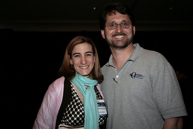 Loretta Hidalgo Whitesides poses with Orion Propulsion President Tim Pickens at the International Space Development Conference