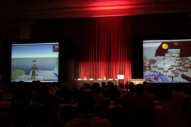 Dr. Simon 'Pete' Worden, Director, NASA Ames Research Center, speaks from the virtual world of Second Life and from the real world at the International Space Development Conference