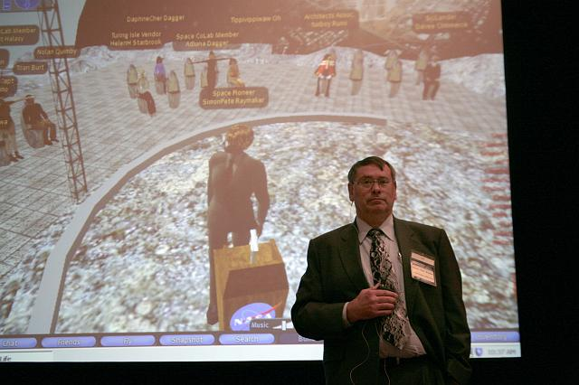 Dr. Simon 'Pete' Worden, Director, NASA Ames Research Center, speaks of the NASA presence in the virtual world Second Life at the International Space Development Conference