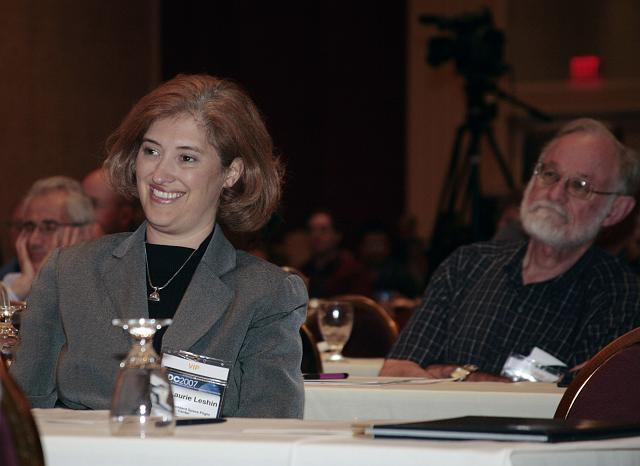NASA's Laurie Leshin (L) and Dr. Kenneth Cox listen to Pete Worden's speech at the International Space Development Conference
