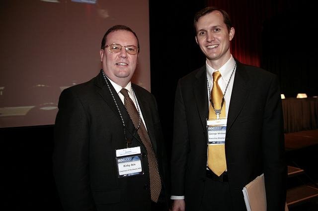Kirby Ikin, Chairman of the NSS Board of Directors, and George Whitesides, NSS Executive Director, pose at the International Space Development Conference