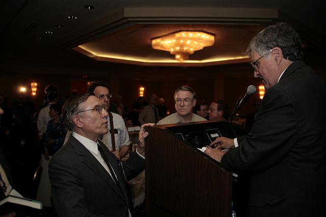 NSS member John Strickland speaks with former Apollo Astronaut and U.S. Senator Harrision 'Jack' Schmitt (R) following his presentation at the International Space Development Conference