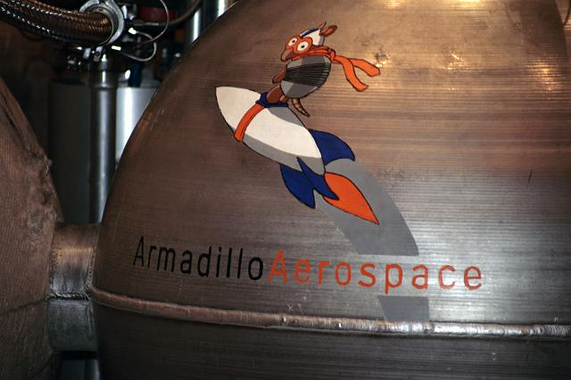 Pixel: an Armadillo Aerospace vehicle on display at the International Space Development Conference