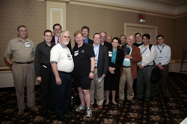 A group of outstanding space activists and NSS members pose together at the International Space Development Conference hosted by the National Space Society, on May 28, 2007, in Dallas, TX.