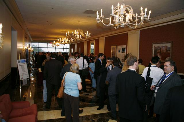 Participants mingle during a break at the Space Venture Finance Symposium, a part of the International Space Development Conference