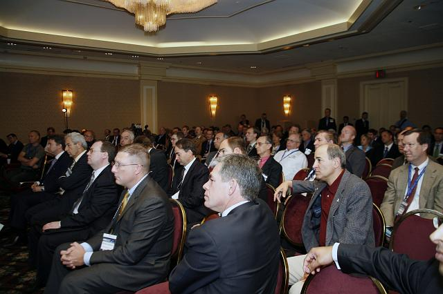 Participants listen to Lon Levin (not pictured) at the Space Venture Finance Symposium, a part of the International Space Development Conference