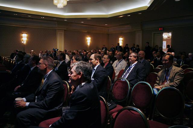 Participants at the Space Venture Finance Symposium, a part of the International Space Development Conference, listen to a panel discussion