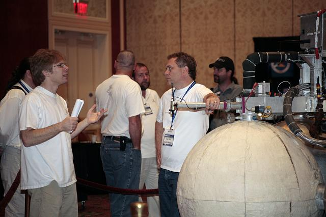 Armadillo Aerospace CEO John Carmack talks with Russel Blink at the International Space Development Conference