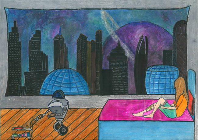 2017 student art contest Interior of Excellence Space Settlement