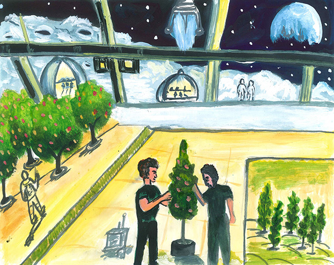 2017 student art contest Manufacturing Medicine in Space Colony