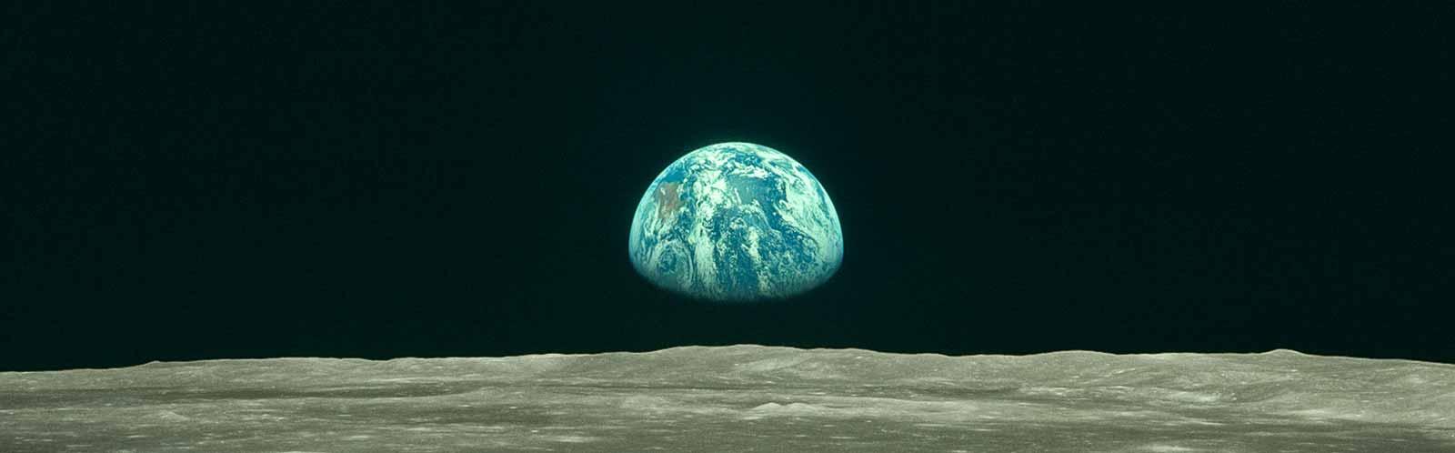 Apollo Earthrise Over the Moon