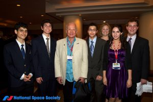 Buzz Aldrin with contest students