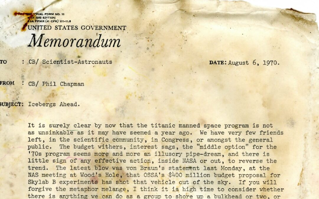 Icebergs Ahead: The 1970 Letter That Predicted NASA's Future in Human Spaceflight
