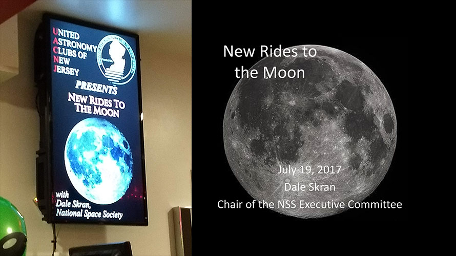 "NSS Leader Dale Skran presents ""New Rides to the Moon"" to United Astronomy Clubs of NJ"
