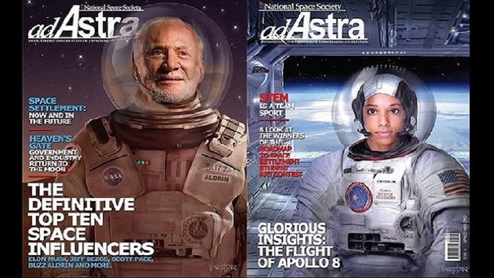 Covers of Ad Astra magazine