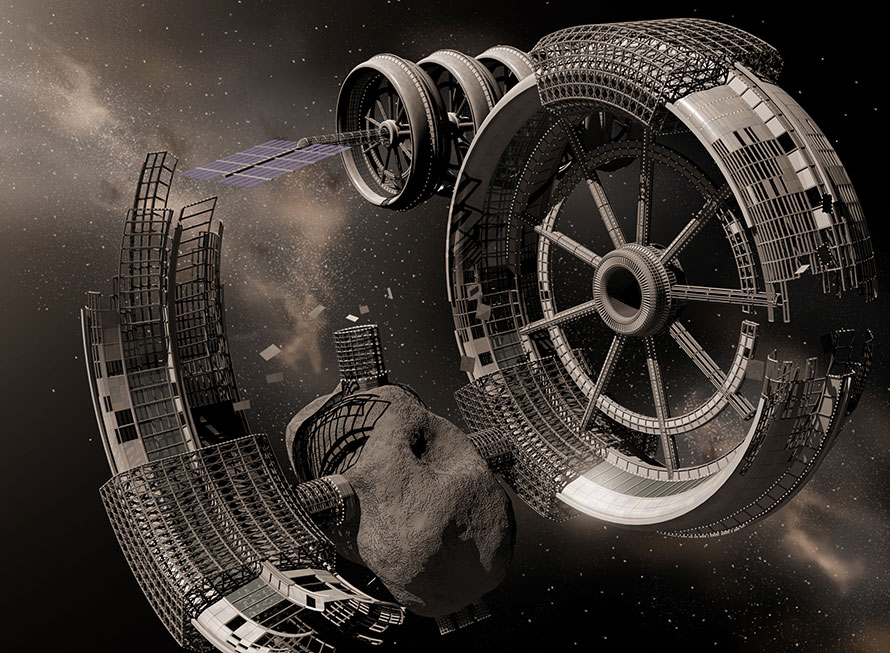 construction of space settlement from asteroid
