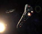 Asteroid Settlement: Slingshot to the Galaxy space art