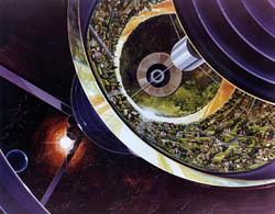 Bernal Sphere Space Settlement Cutaway