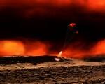 Frank Hettick space art Titan Touchdown