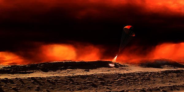 Titan Touchdown Space Art by Frank Hettick