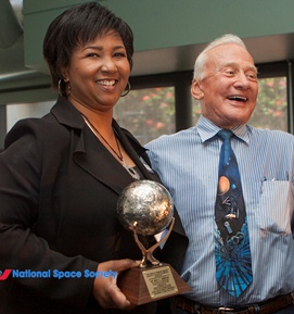 Jemison 2013 Pioneer award with Buzz aldrin